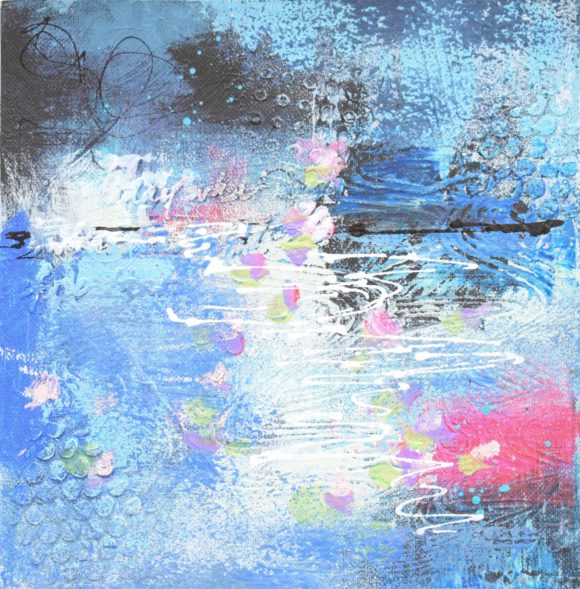 DSC 6053 580x589 - Small, blue, mixed media art, in white frame :  blue abstract water floral (37)