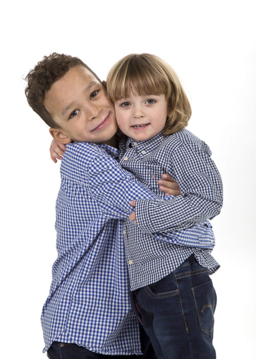 two brothers portrait on white background in hull