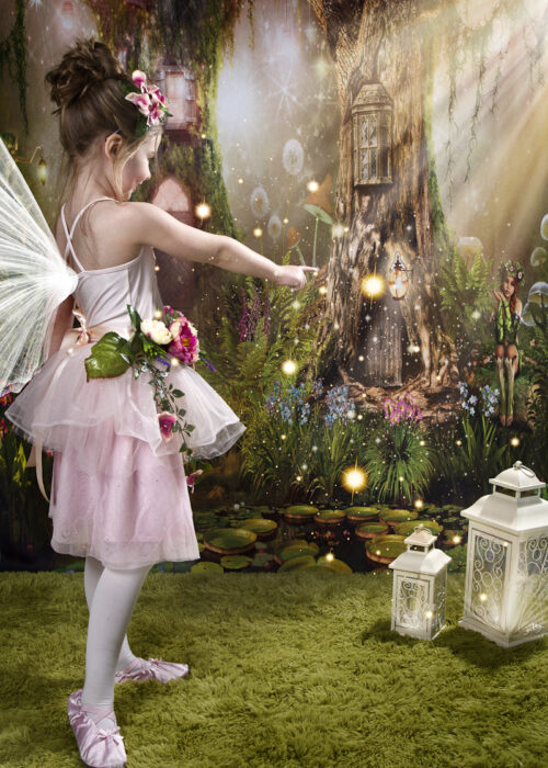 pink fairy with fairy background and shining light