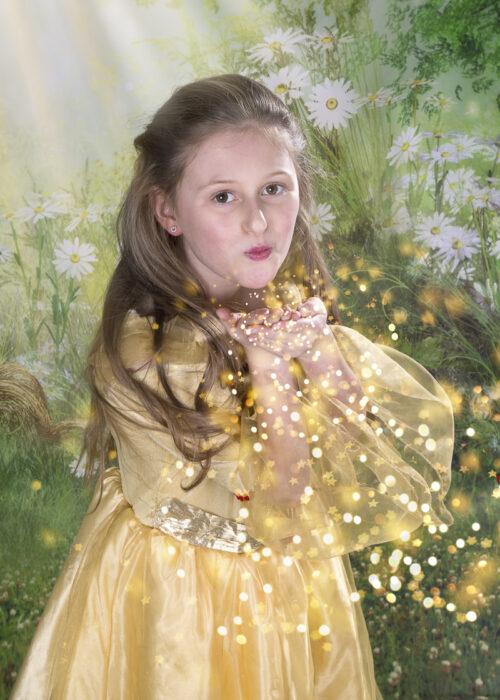 princess, gold dress studio photo in hull
