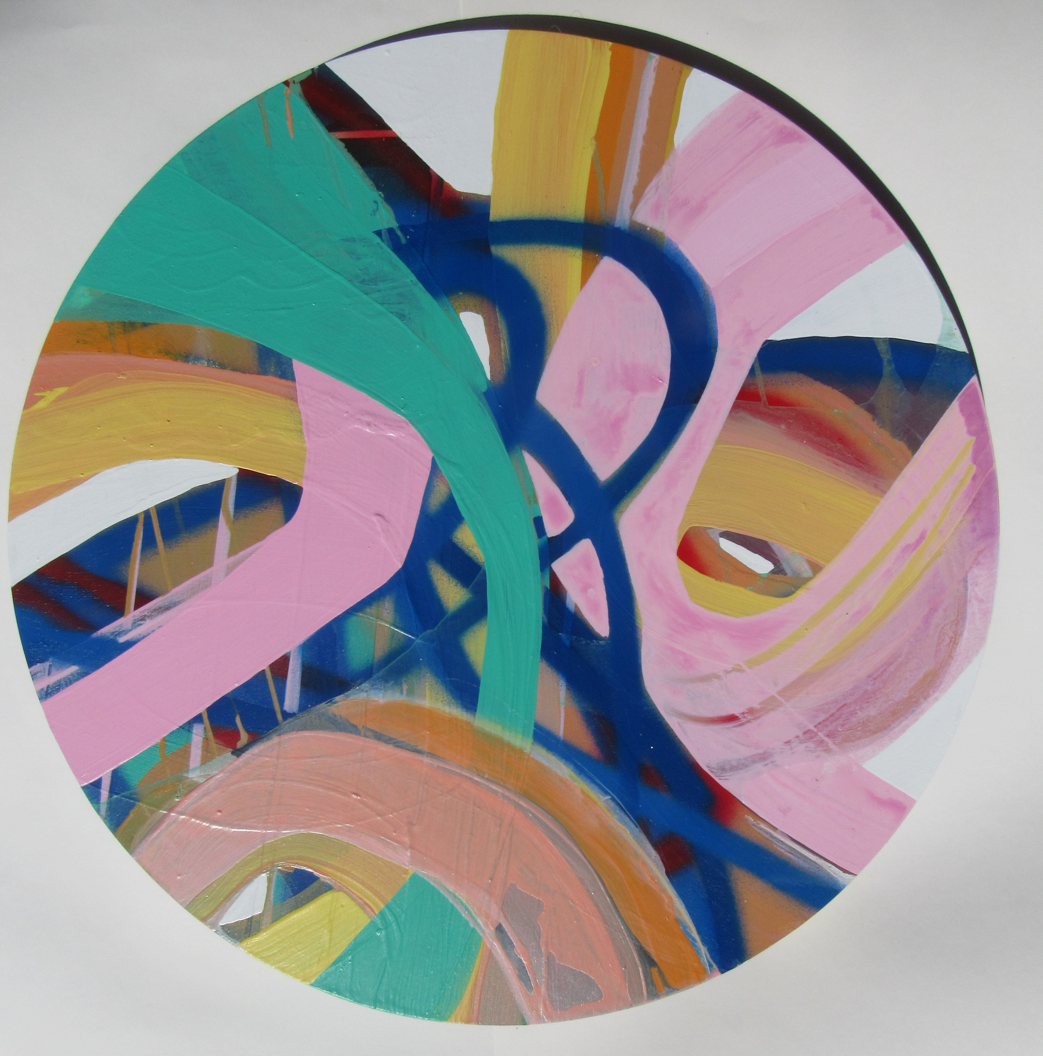 Roller Jam layered colours on mounted board