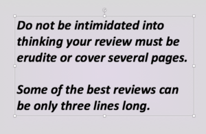 Geraldine Evans's Books - How to Write a Book Review - Reviews callout 1