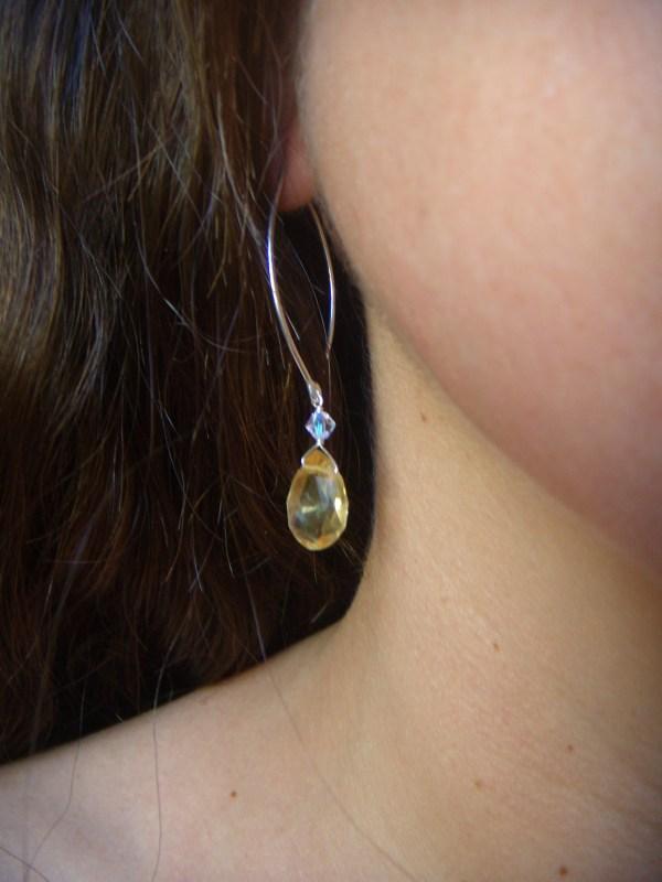 citrine drop swarovski crystal silver earrings 3