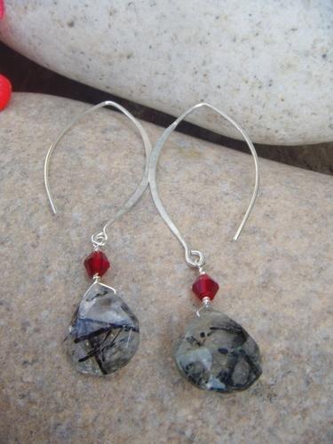 rutilated quartz drop crystal accent