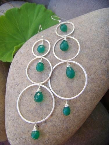 green onyx hammered silver hoop earrings