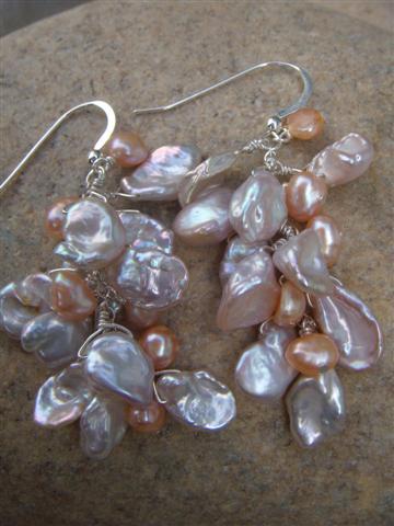 keishi pearl cluster earrings