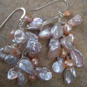 keishi pearl cluster earrings
