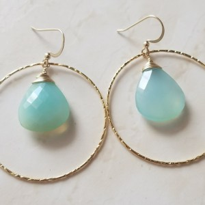 blue chalcedony gold hoop earrings