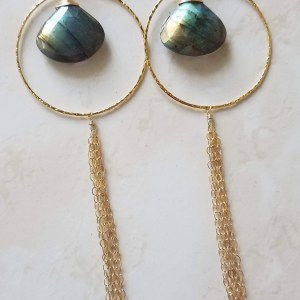 labradorite gold hoop chain dangle earrings