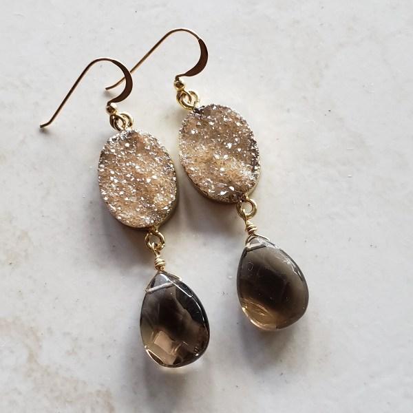 champagne druzy earrings