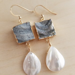 druzy mother of pearl drop earrings