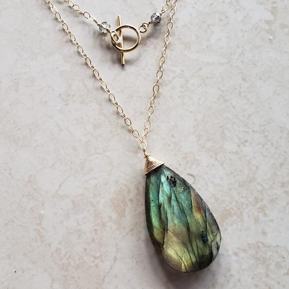 6543753d30a46 Labradorite Pendant - Long Gold Chain Wrap Necklace   Alissa B Custom  Gemstone Jewelry