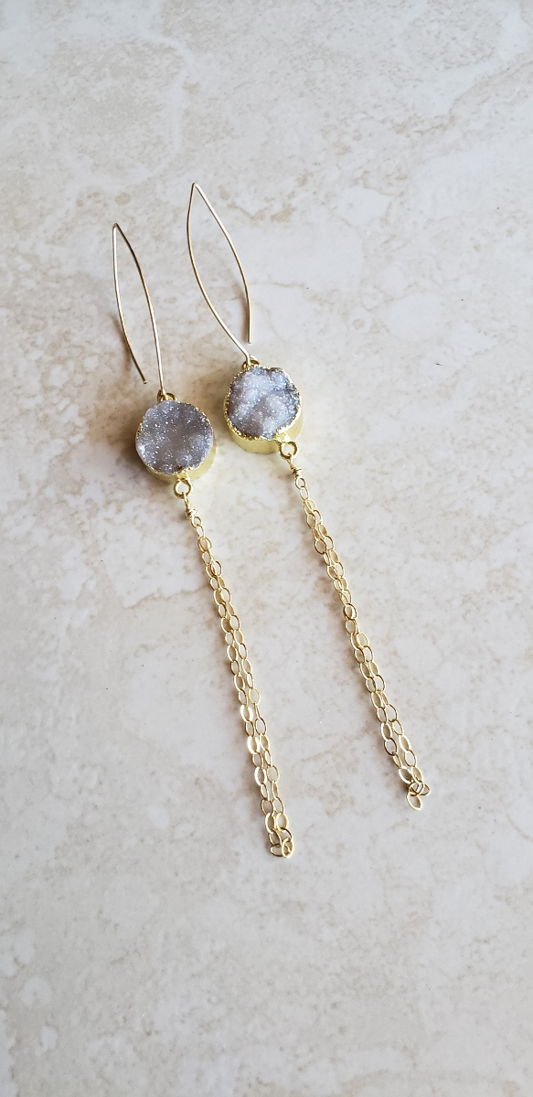 long druzy earrings
