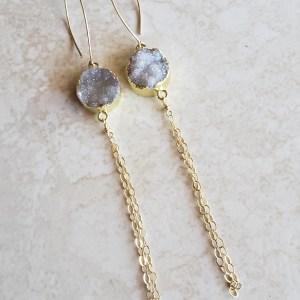long druzy earrings