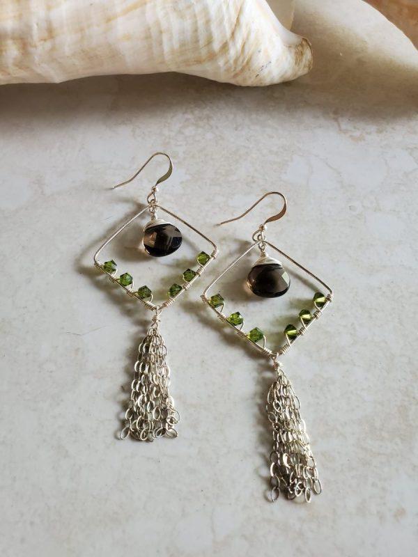 diamond tassel earrings