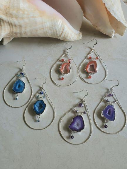 large geode earrings