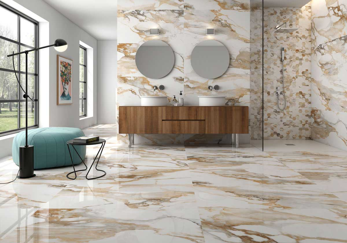 arezzo gold marble effect porcelain