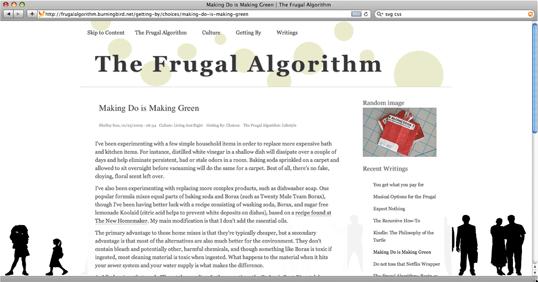 Frugal Algorithm site displayed in narrow window