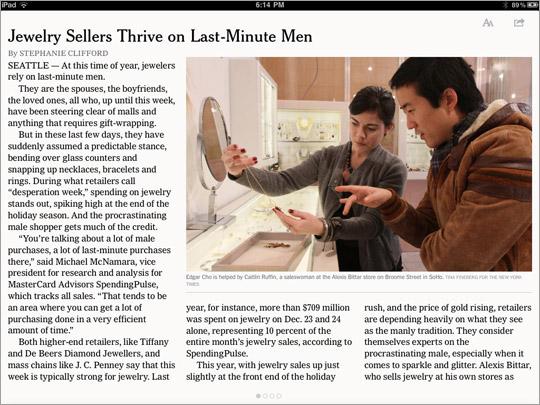 L'app del New York Times: fate swipe verso sinistra per continuare a leggere l'articolo