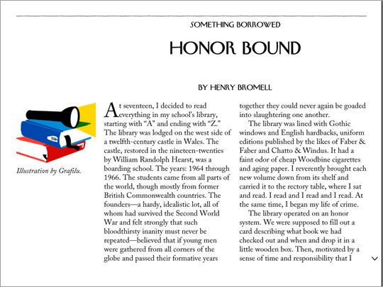 L'app The New Yorker: fate uno swipe verso l'alto per continuare a leggere questo articolo.