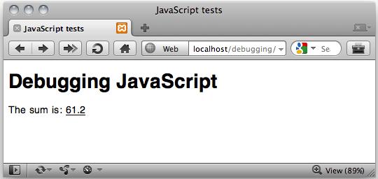 Una pagina con il codice introdotto