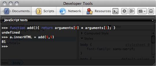 Sovrascrivere una funzione con la console JavaScript