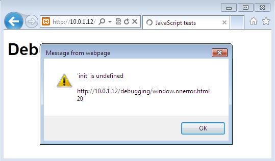 Il nostro errore appare come un alert in Internet Explorer 9
