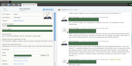 il profilo di un cliente in una piattaforma operatore centrata sulla persona featuring la soluzione per il customer service Assistly.
