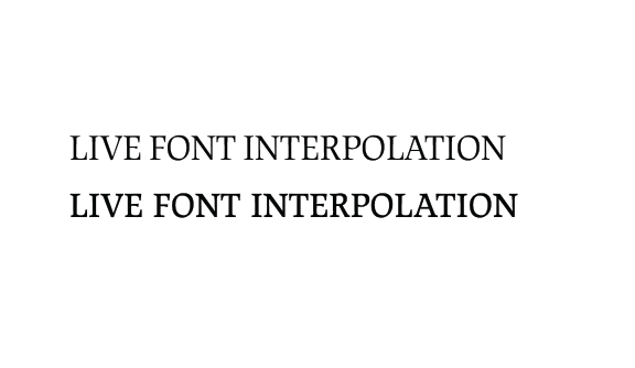 """Confronto del titolo """"LIVE FONT INTERPOLATION"""" impostato nella versione testo e nella versione display del font JAF Lapture, che illustra come la versione display renda meglio visivamente."""