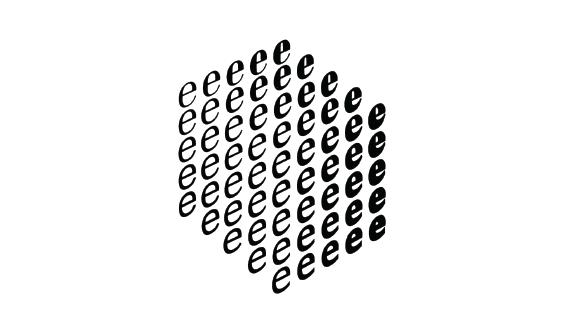 Diagramma di un cubo tridimensionale delle lettere e che mostra come l'aspetto della e possa essere cambiato gradualmente.