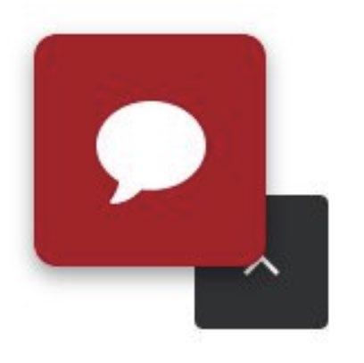 Un'icona rossa di chat si sovrappone su un angolo all'icona scroll to top, oscurando una porzione della freccia.