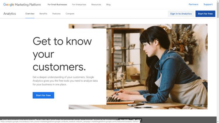 Google Analytics Home Page