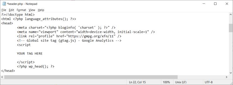 Add Google Analytics Tracking Code To header.php