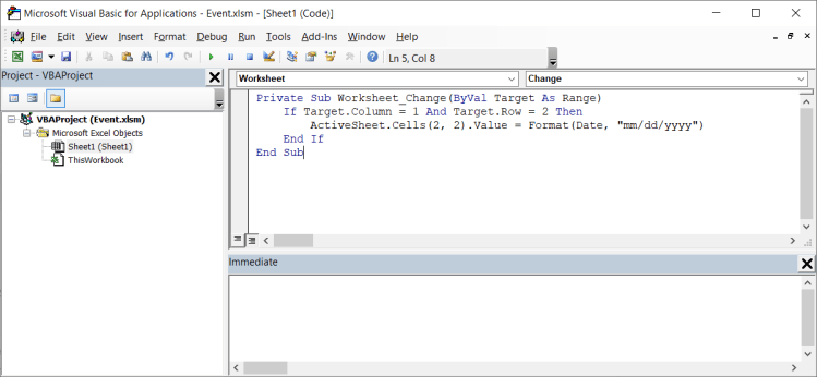 VBA Code For Last Modified Date