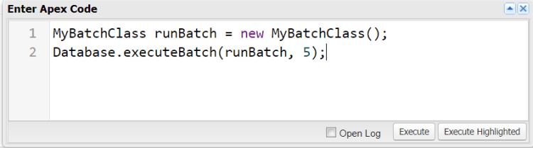 Executing Batch Apex In Developer Console