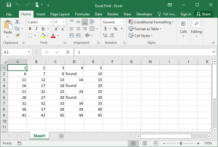 Excel find example 3