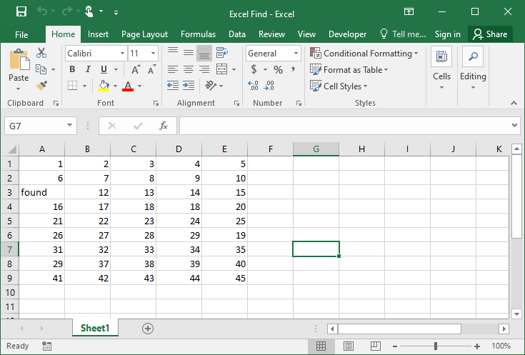 Excel find example 5