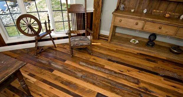 The final result: Trestlewood's rustic chic Skip-Planed Antique Oak Flooring