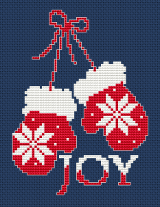 Red Mittens Cross Stitch Pattern