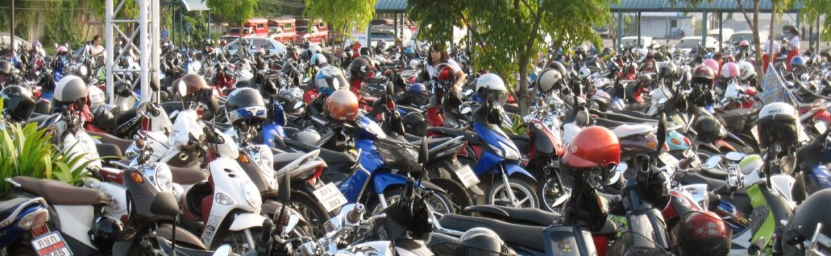 Motorcycles parking lot in Chiang Mai