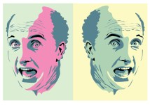 Exercise in Illustrator, a face expressing surprise