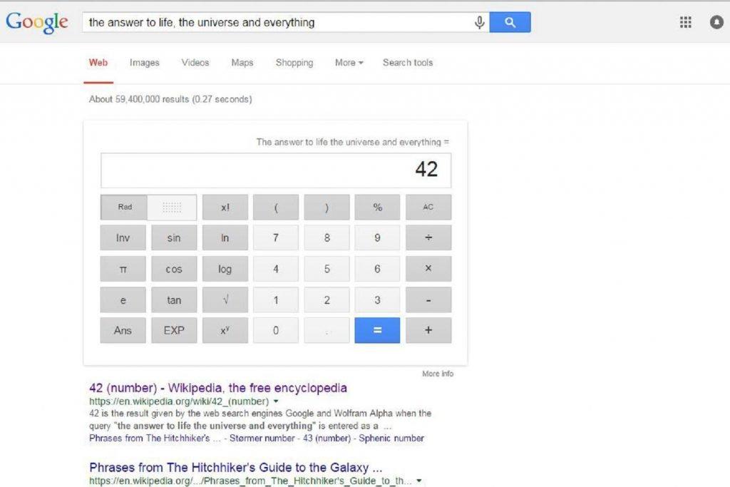 google easter egg 42