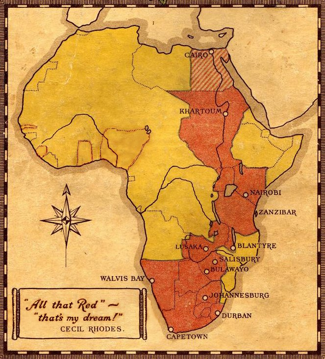 Colonial map of Africa by Rhodes