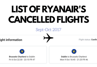 Ryanair Flight Cancellation Dates 2017