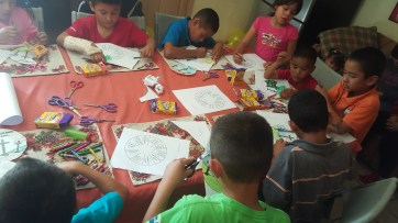 Coloring at the orpahnage