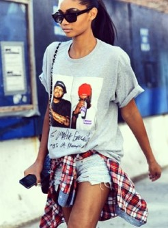 la-modella-mafia-Chanel-Iman-model-off-duty-street-style-in-a-hip-hop-tee-cut-off-shorts-plaid-shirt-tied-around-the-waist-and-thigh-high-boots-2