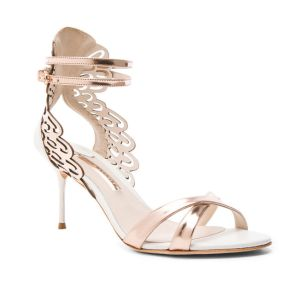 New-2016-Webster-Micah-Metallic-Leather-Sandals-Rose-Gold-and-White-Women-Sandals-Evening-Shoes-Women