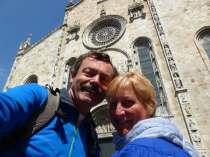 Selfie outside church in Como