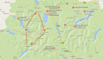 Lakes Walk, Outline Route