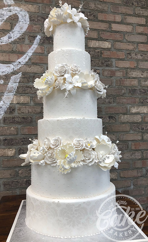 6 Tiered Cake Fondant Wedding Cake With Elegant Flower Designs